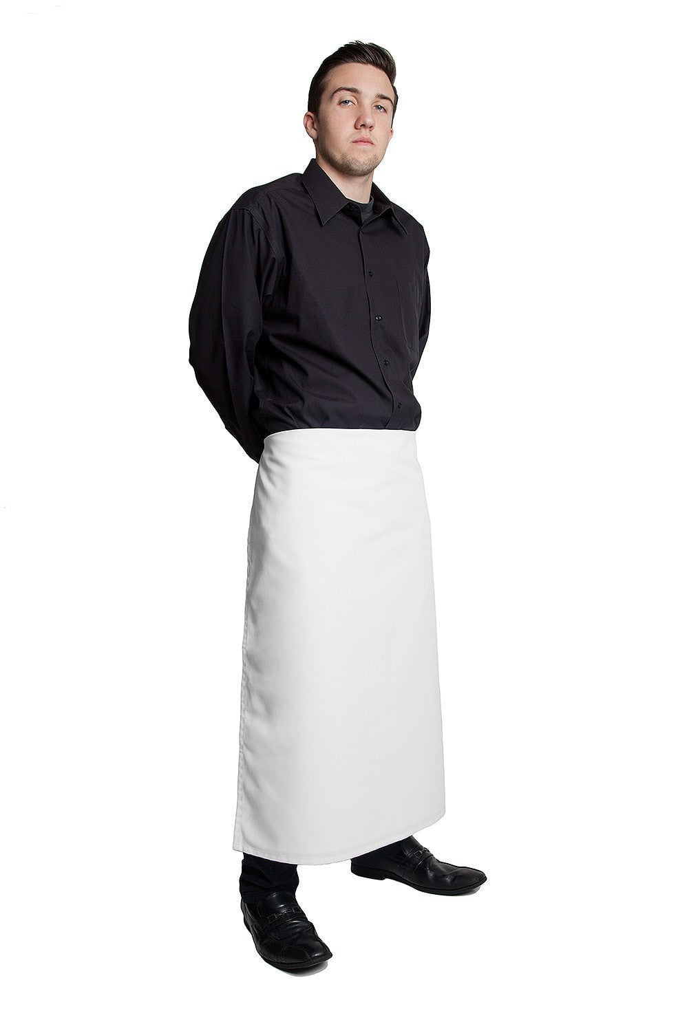 "Long 4 way Apron - White 32""L by 30""W Reversible White Side Profile"