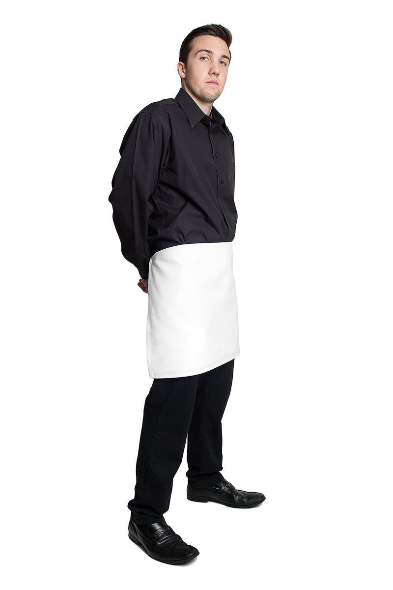"4 way Apron - White 16"" L X 28"" W White Waist Side Profile"