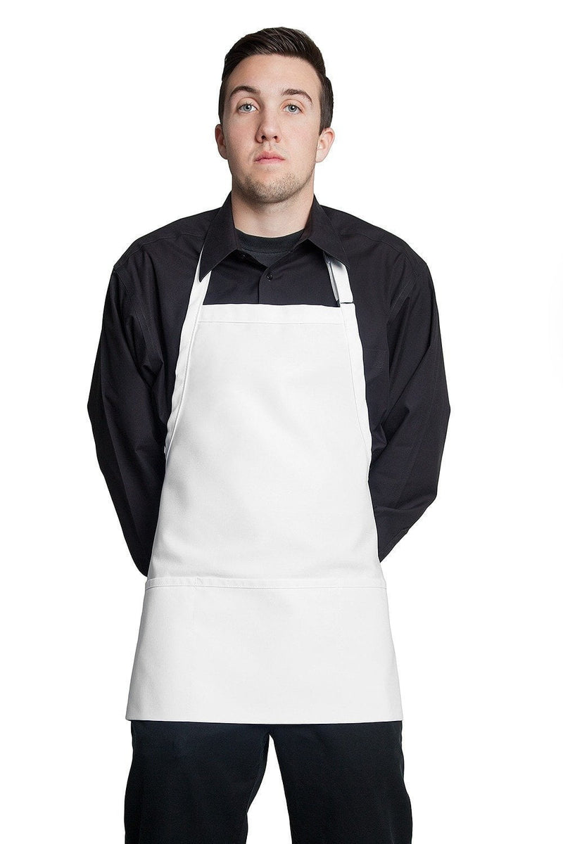 "Fiumara Apparel Bib Apron w/ 3 Pockets 24""L X 28"" W White"