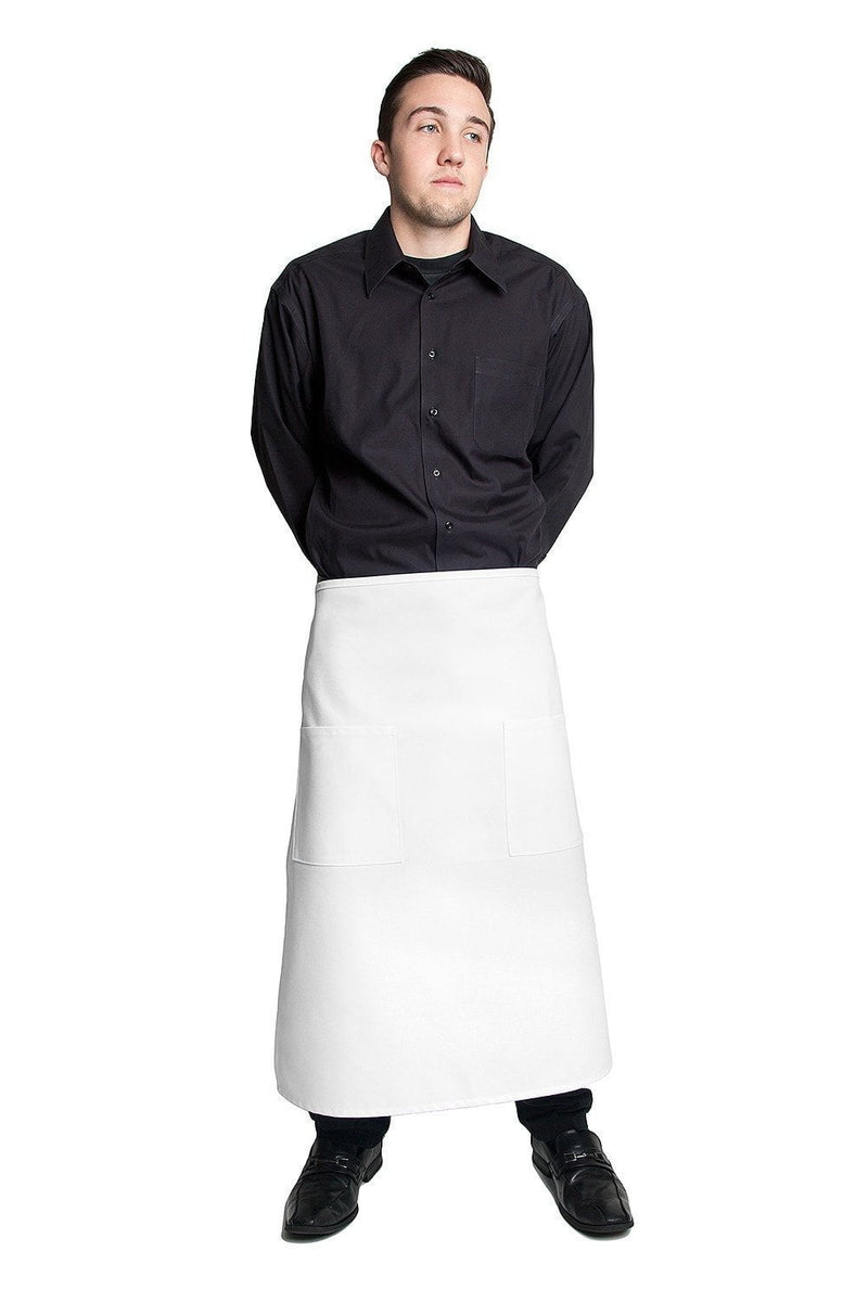 "Full Bistro Apron with 2 Patch Pockets 32""L x 28""W White Front"