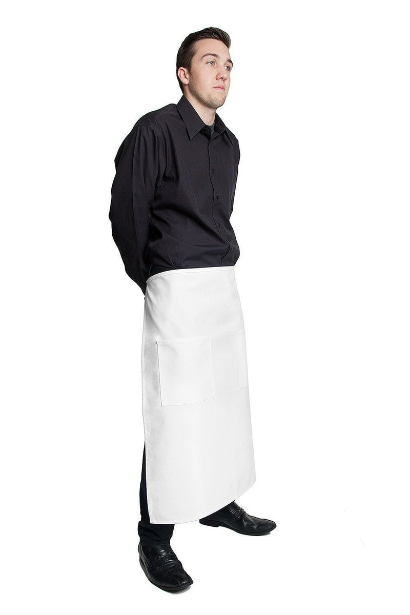 "Full Bistro Apron w/2 Patch Pockets 32""L x 28""W White Side"