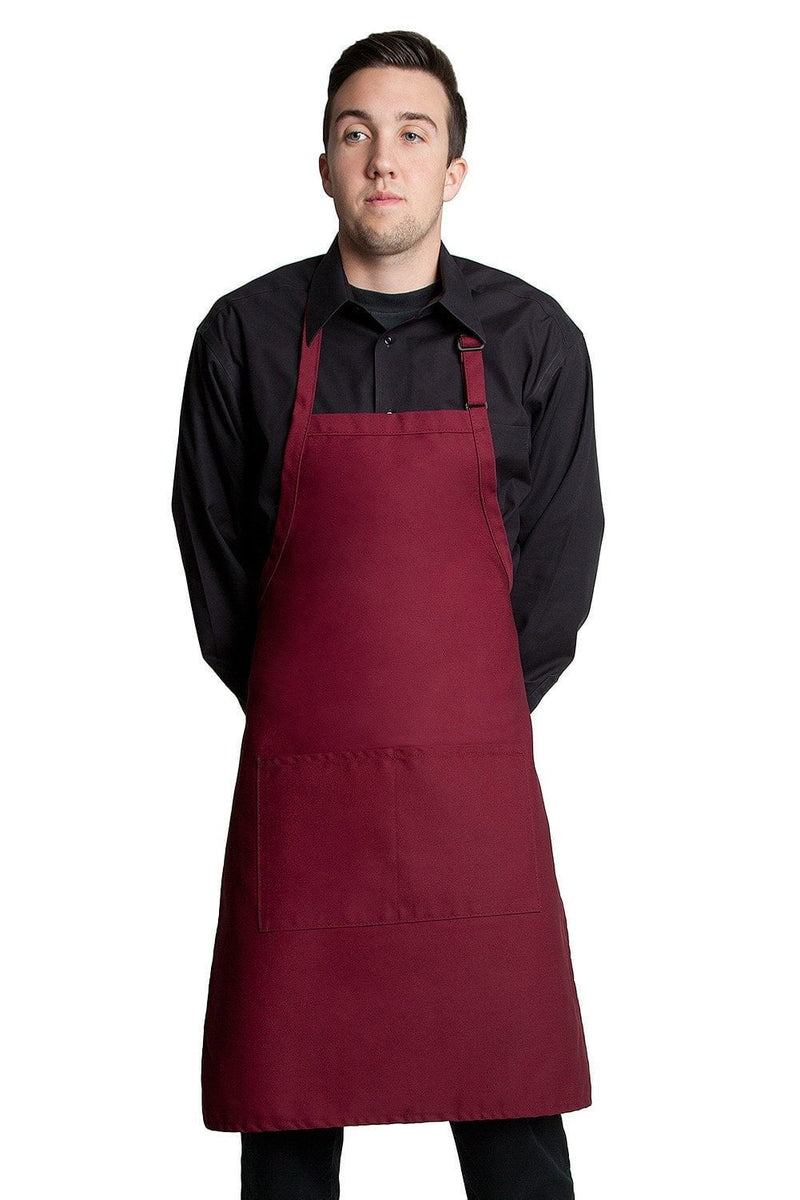 "Butcher Apron w/Center Pockets 34""L x 24""W Wine"