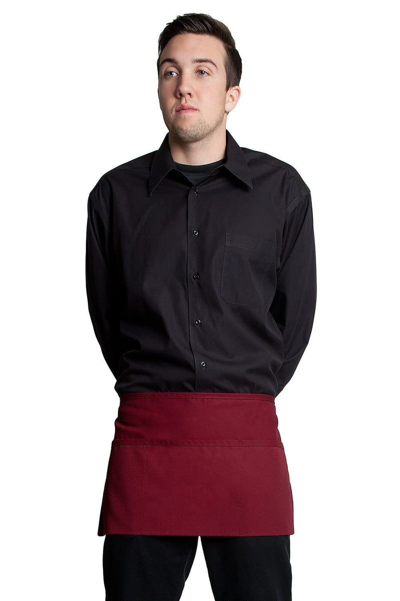"3 Pocket Waist Apron 12""L x 23""W Wine Red"