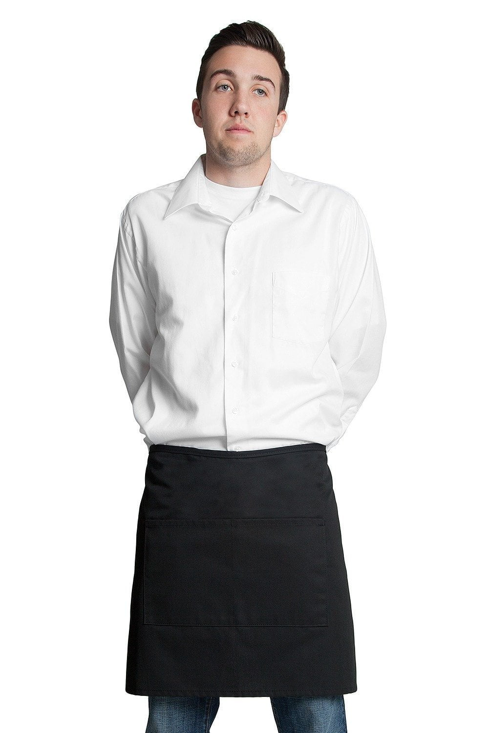 "Half Bistro Apron w/Center Pockets 19""L x 28""W Black"