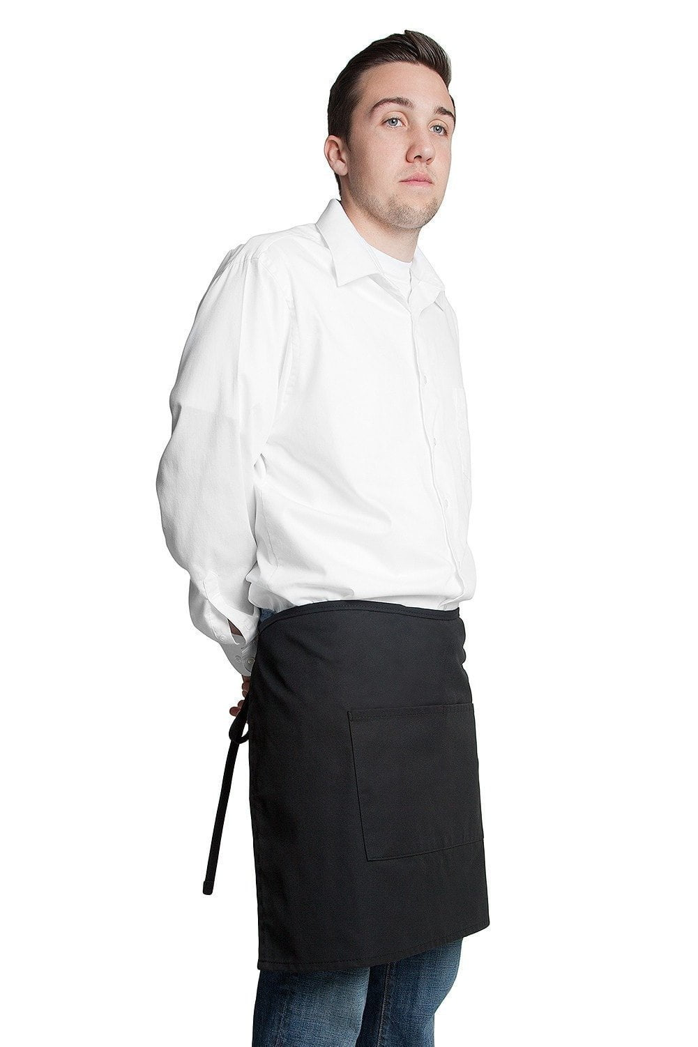 "Half Bistro Apron w/Center Pockets 19""L x 28""W Black Profile"