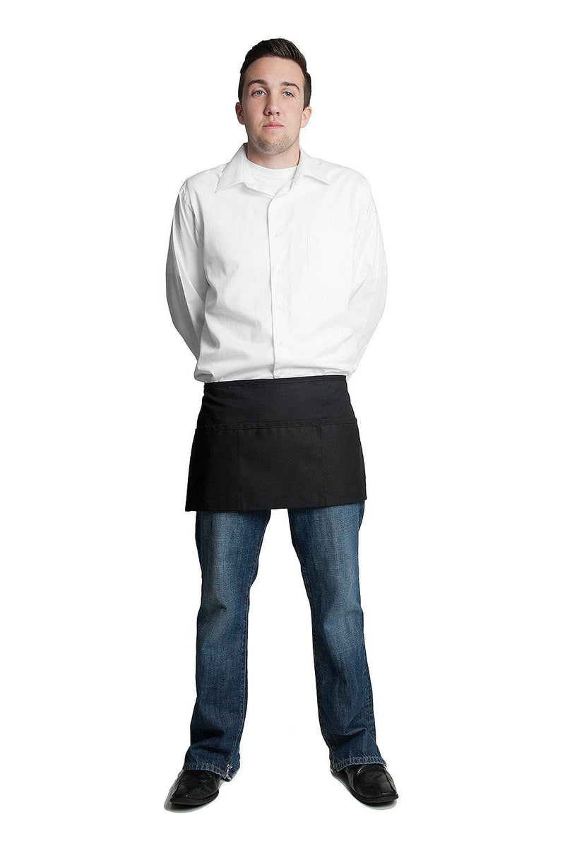 "3 Pocket Apron (Rev) 12""L x 23""W by Fiumara Apparel Black Front"
