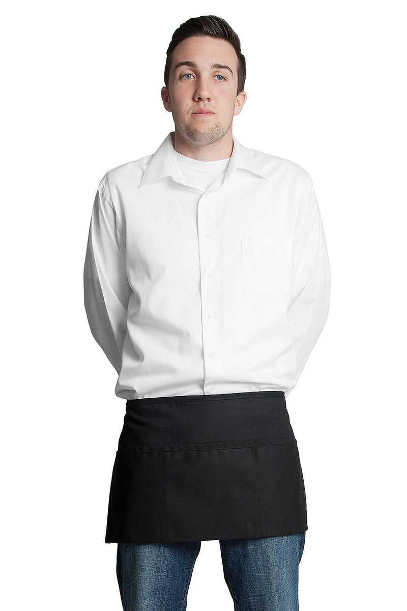 "3 Pocket Apron (Rev) 12""L x 23""W by Fiumara Apparel Black Front Close"