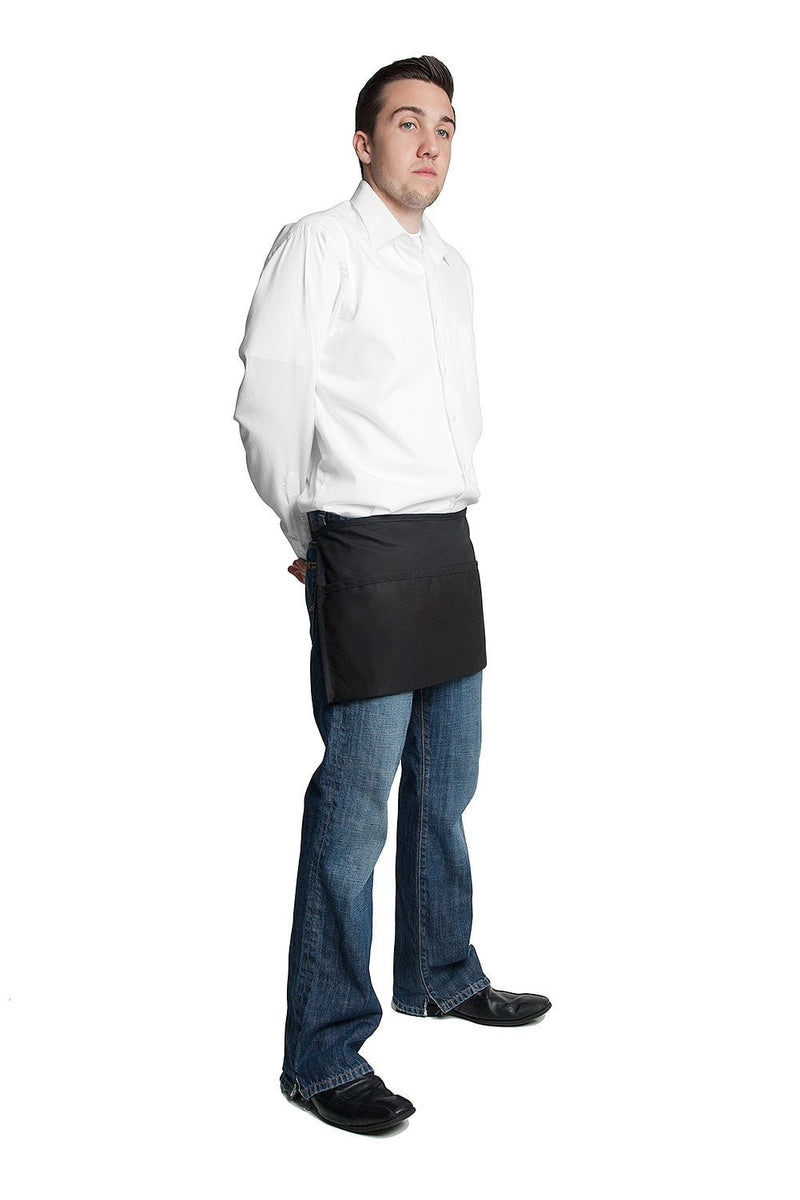 "3 Pocket Apron (Rev) 12""L x 23""W by Fiumara Apparel Black Side"