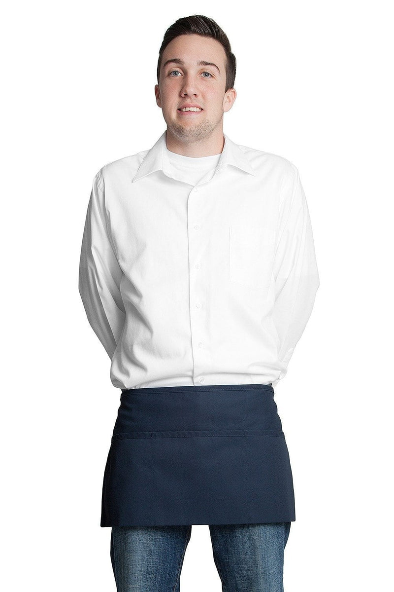 "3 Pocket Waist Apron 12""L x 23""W Navy Blue"