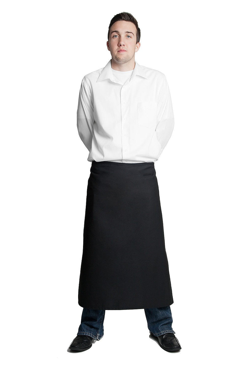 "Full Bistro Apron w/No Pockets 32""L x 28""W Black"