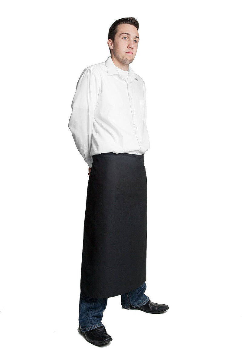 "Full Bistro Apron w/No Pockets 32""L x 28""W Black Side Profile"