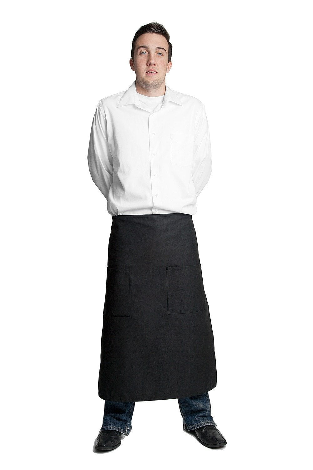 "Full Bistro Apron w/2 Patch Pockets 32""L x 28""W Black Front"