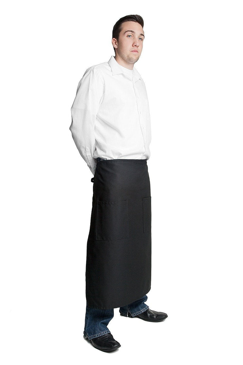 "Full Bistro Apron w/2 Patch Pockets 32""L x 28""W Black Side"