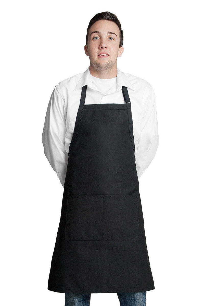 "Butcher Apron w/Center Pockets 34""L x 24""W Black"