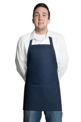 "Fiumara Apparel Bib Apron w/ 3 Pockets 24""L X 28"" W Navy Blue"