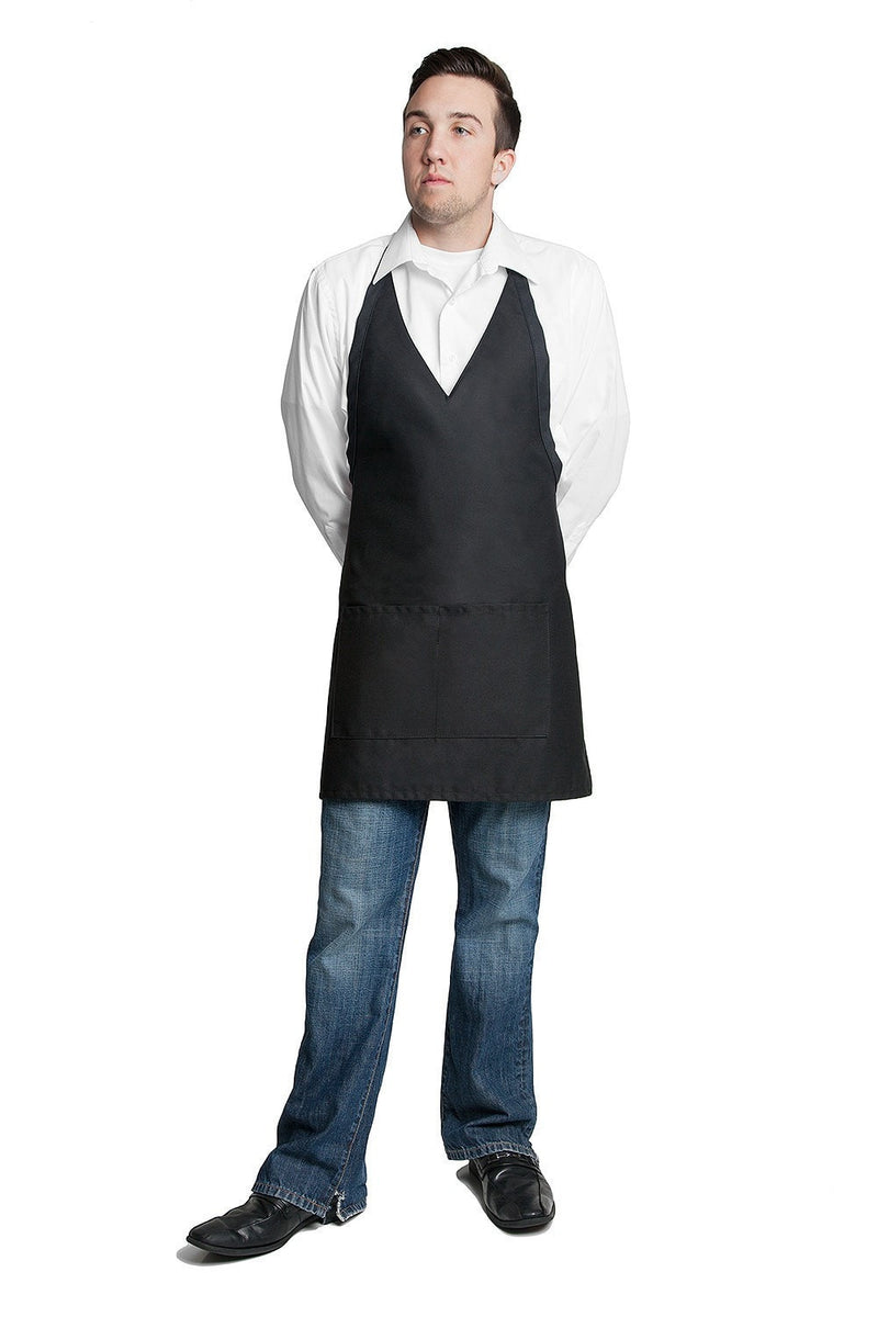 "Tuxedo Apron w/Center Pockets 32""L x 28""W Black Far Shot"