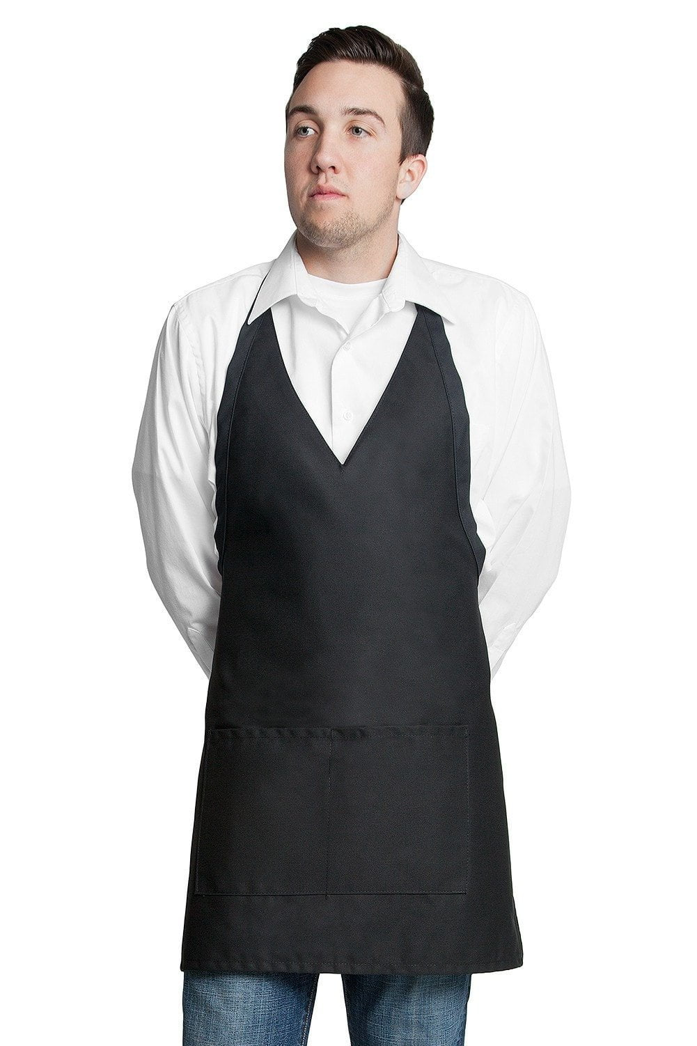 "Tuxedo Apron w/Center Pockets 32""L x 28""W Black"