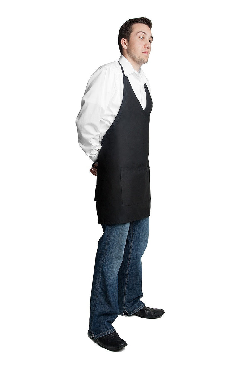 "Tuxedo Apron w/Center Pockets 32""L x 28""W Black Side Far Shot"