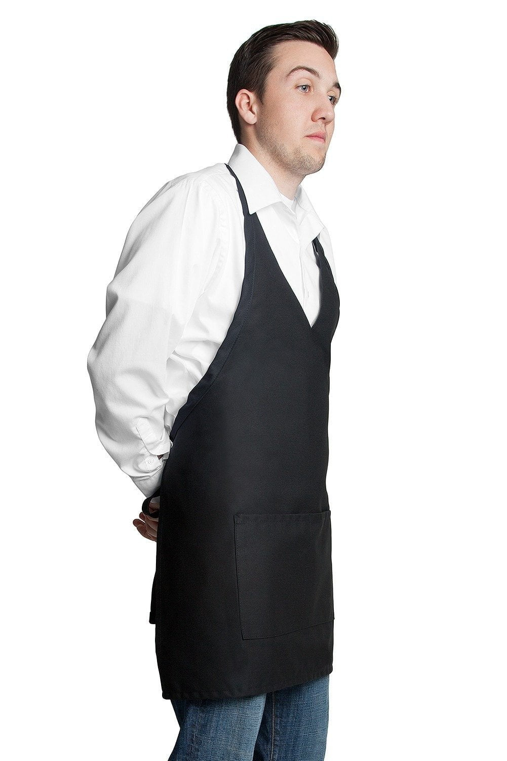 "Tuxedo Apron w/Center Pockets 32""L x 28""W Black Side"