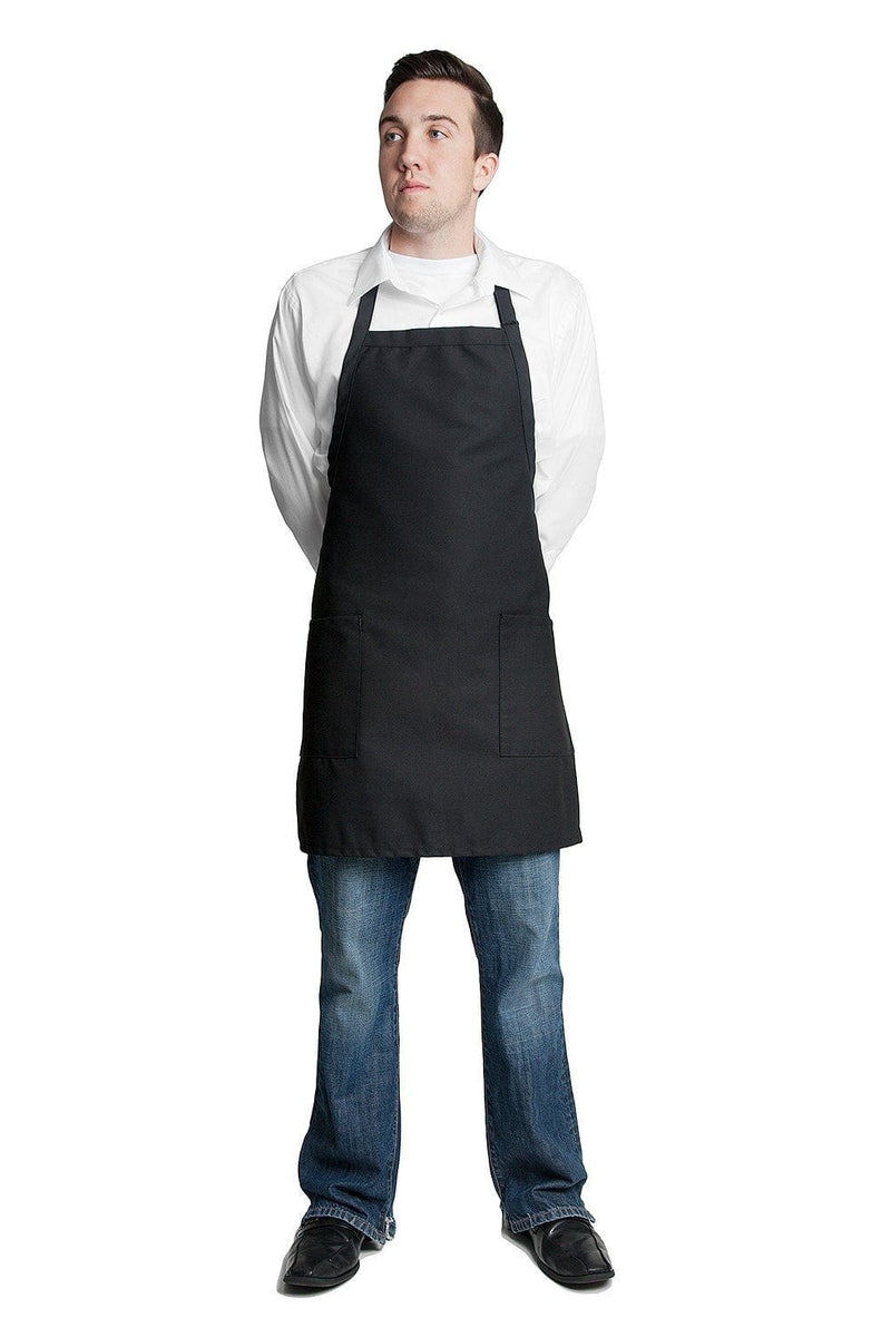 "Bib Apron with 2 Patch Pockets 30""L x 24""W Black Front Full"