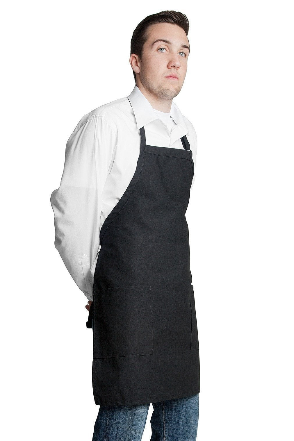 "Bib Apron with 2 Patch Pockets 30""L x 24""W Black Side"