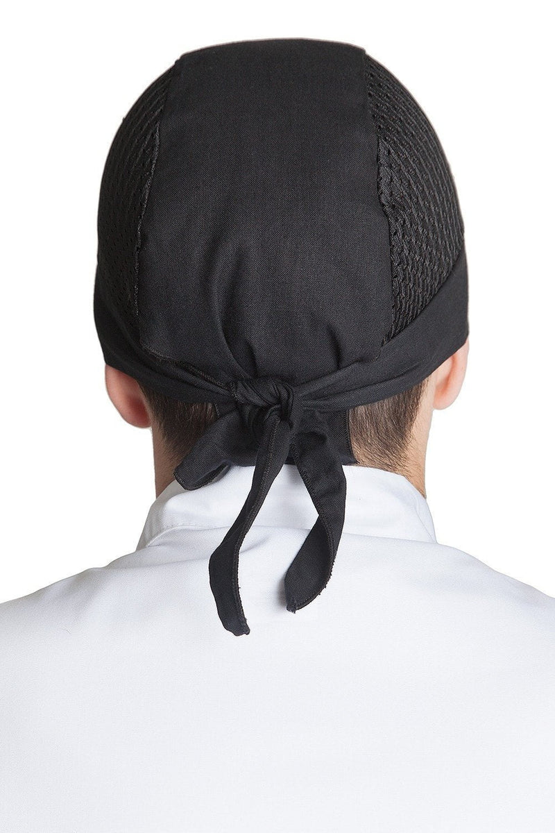 Vented Chef Head Wrap Black Back