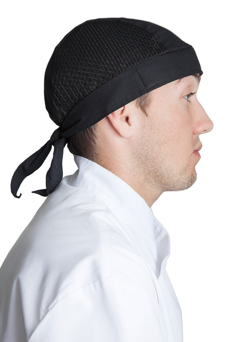 Vented Chef Head Wrap Black Side
