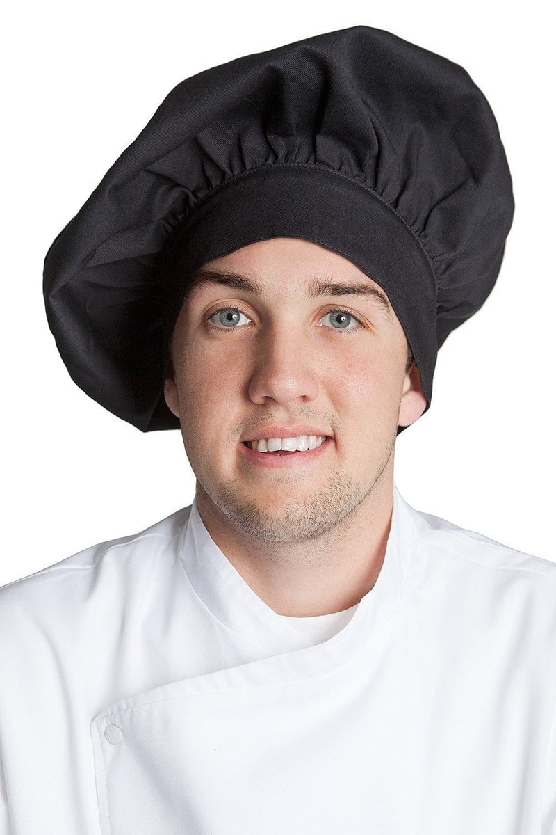 Fiumara Apparel Poplin Chef Hat Black Profile Black Front
