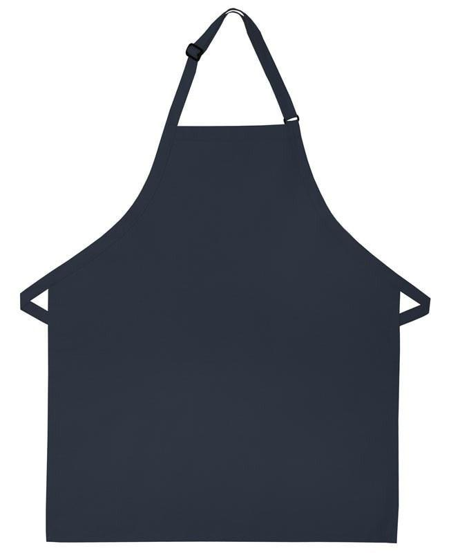 "Bib Apron with No Pockets 28""L x 24""W Navy Blue Open"