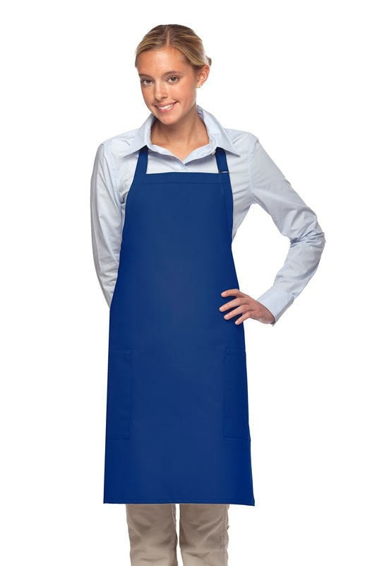 "Bib Apron with 2 Patch Pockets 30""L x 24""W Royal Blue Front"