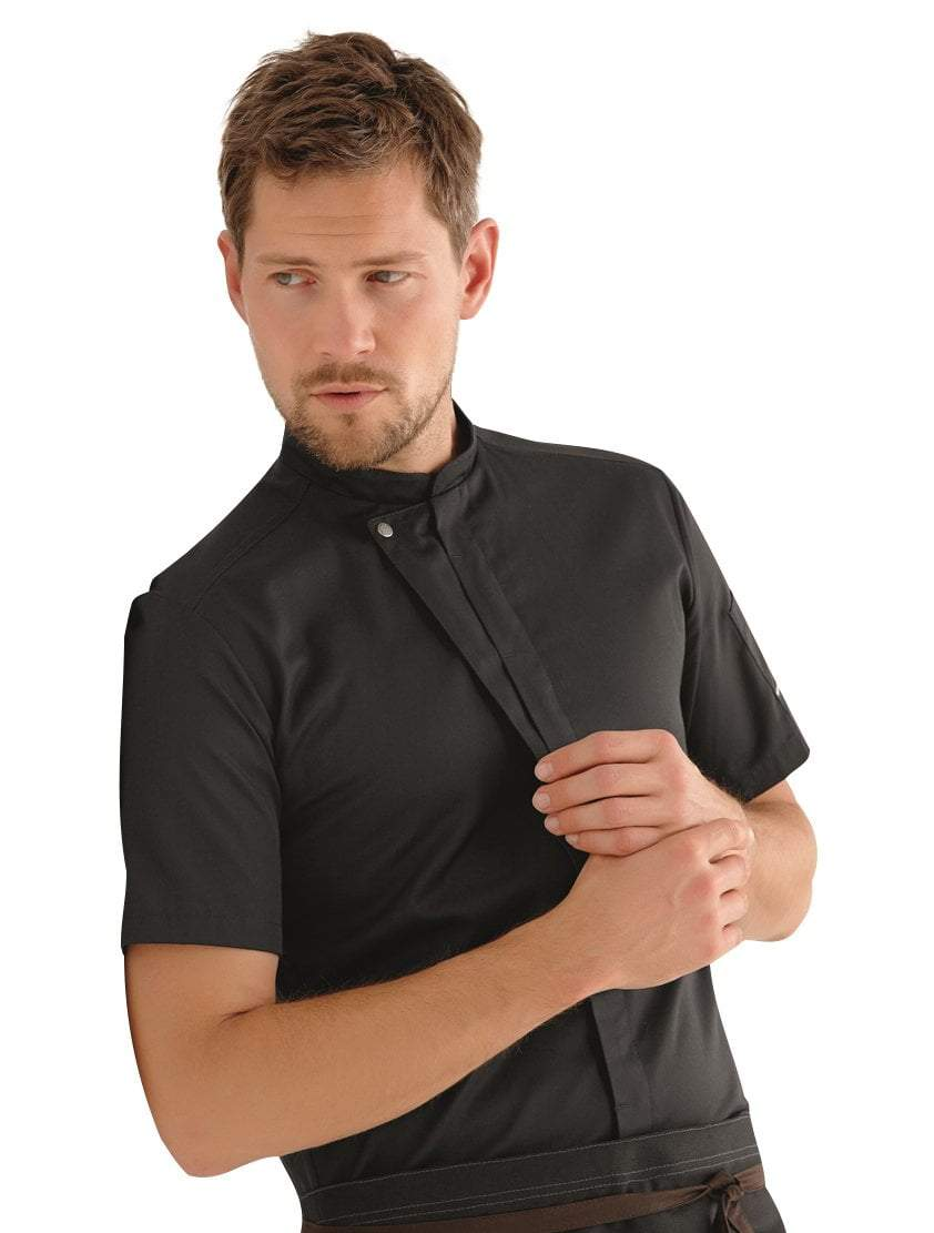 Kentaur 23516 Short Sleeve Chef/Service Jacket Front View Black