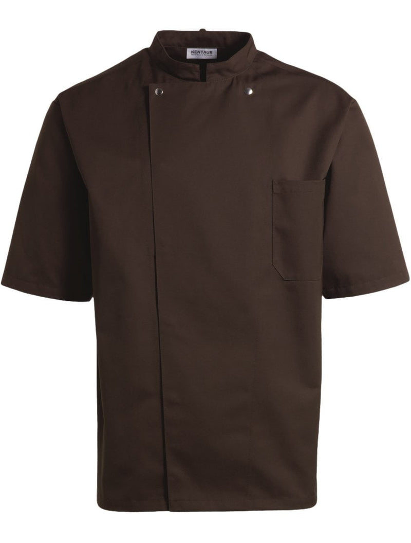 Kentaur 2360 Short Sleeve Unisex Chef/Waiter Jacket - Mocca - Front View