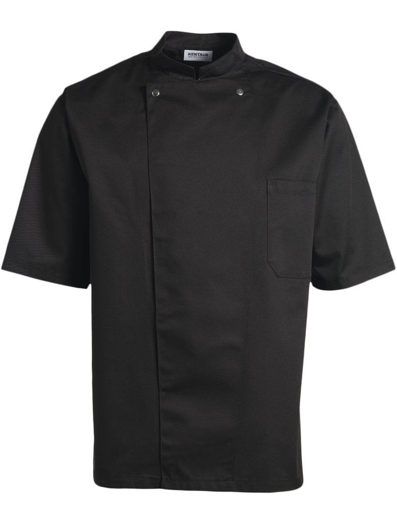 Kentaur 2360 Short Sleeve Unisex Chef/Waiter Jacket - Black- Front View
