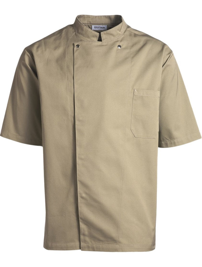 Kentaur 2360 Short Sleeve Unisex Chef/Waiter Jacket - Dark Sand - Front View