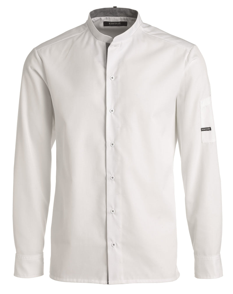 Kentaur 25203 Chef/Service Long Sleeve Shirt Front View White