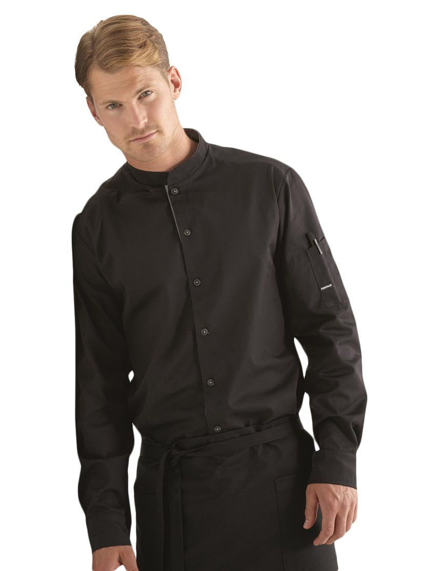 Kentaur 25203 Chef/Service Long Sleeve Shirt Media - Black - Front