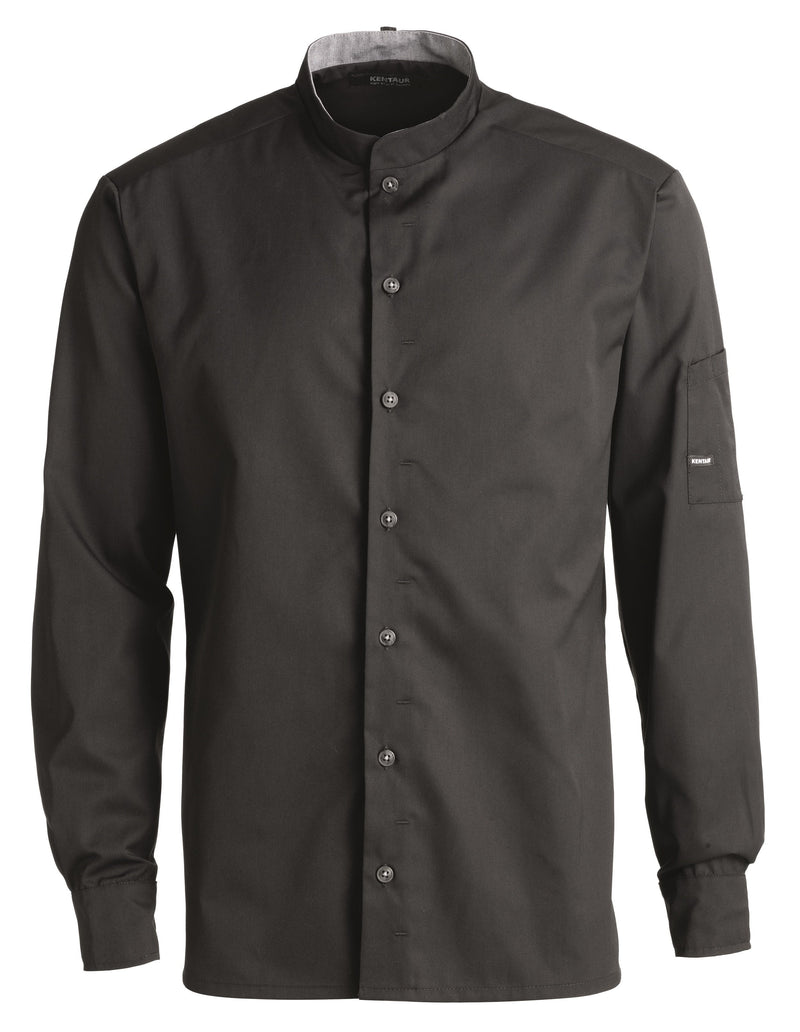 Kentaur 25203 Chef/Service Long Sleeve Shirt Front View Black