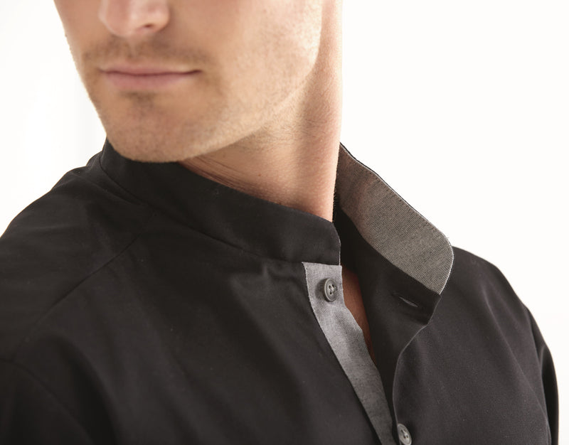 Kentaur 25203 Chef/Service Long Sleeve Shirt Side View Black