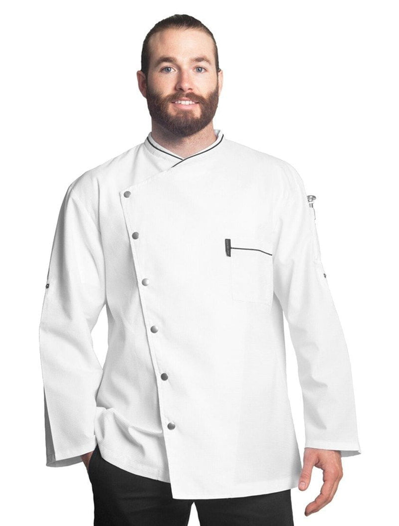 Bragard Chicago Chef Jacket w/Honeycomb Weave White with Black Piping