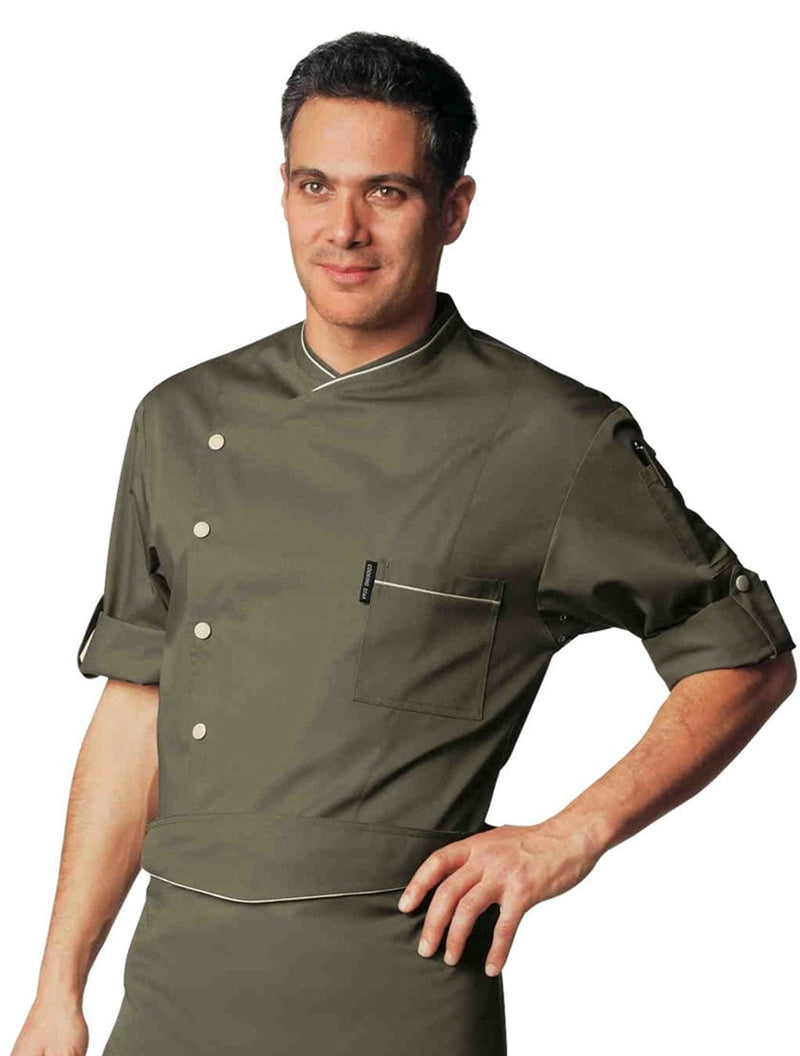 Bragard Chicago Chef Jacket Taupe with White Piping