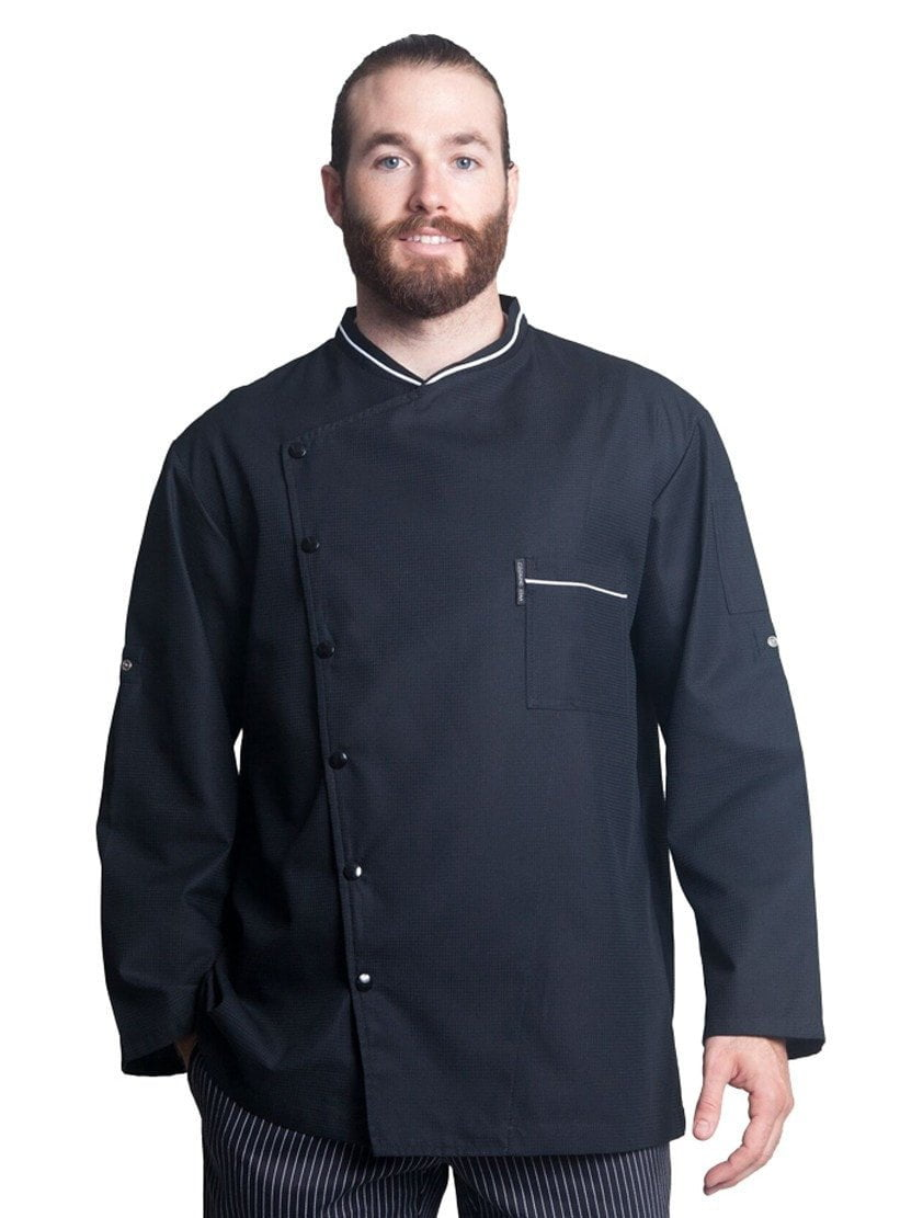 Bragard Chicago Chef Jacket with Honycomb Weave Black with White Piping