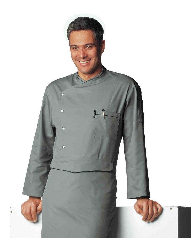 Bragard Chicago Chef Jacket Grey avec passepoil au charbon
