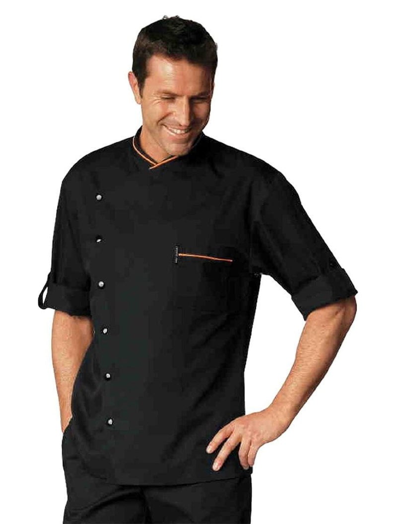 Bragard Chicago Chef Jacket Black with Orange Piping