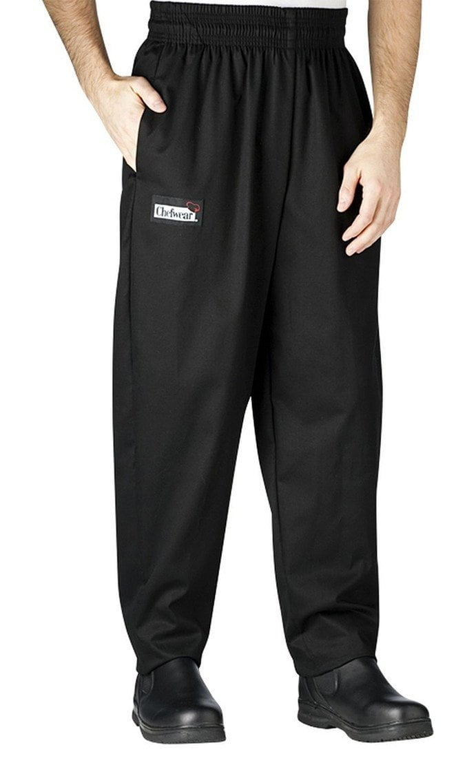 Chefwear Baggy Chef Pants 3000 Black With Grey Pinstripe