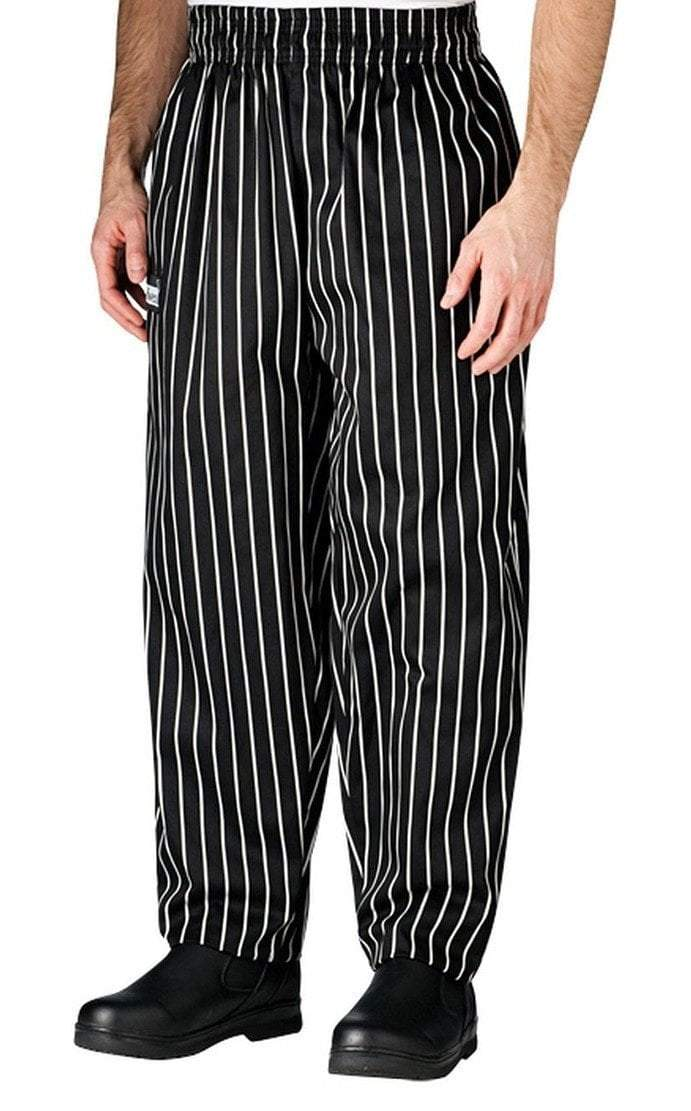 Chefwear Baggy Chef Pants 3000 Black With White Chalk Stripe