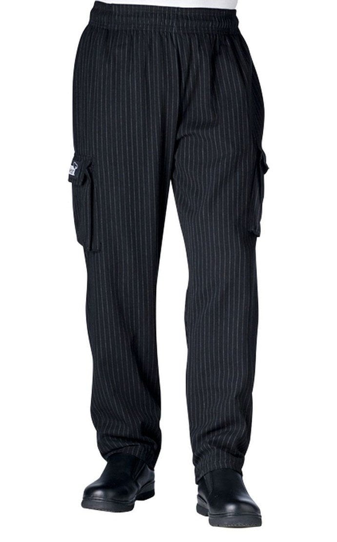 Chefwear Cargo Chef Pants 3200 Black with Grey Pinstripes