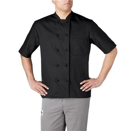 Chefwear Three Star Short Sleeve Cloth Knot Button Chef Jacket (4450) Black Front Profile