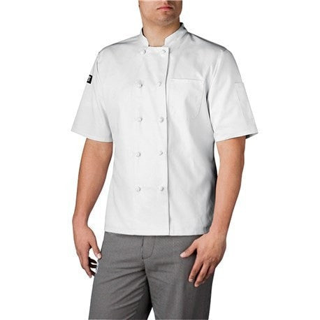 Chefwear Three Star Short Sleeve Cloth Knot Button Chef Jacket (4450) White Front Profile