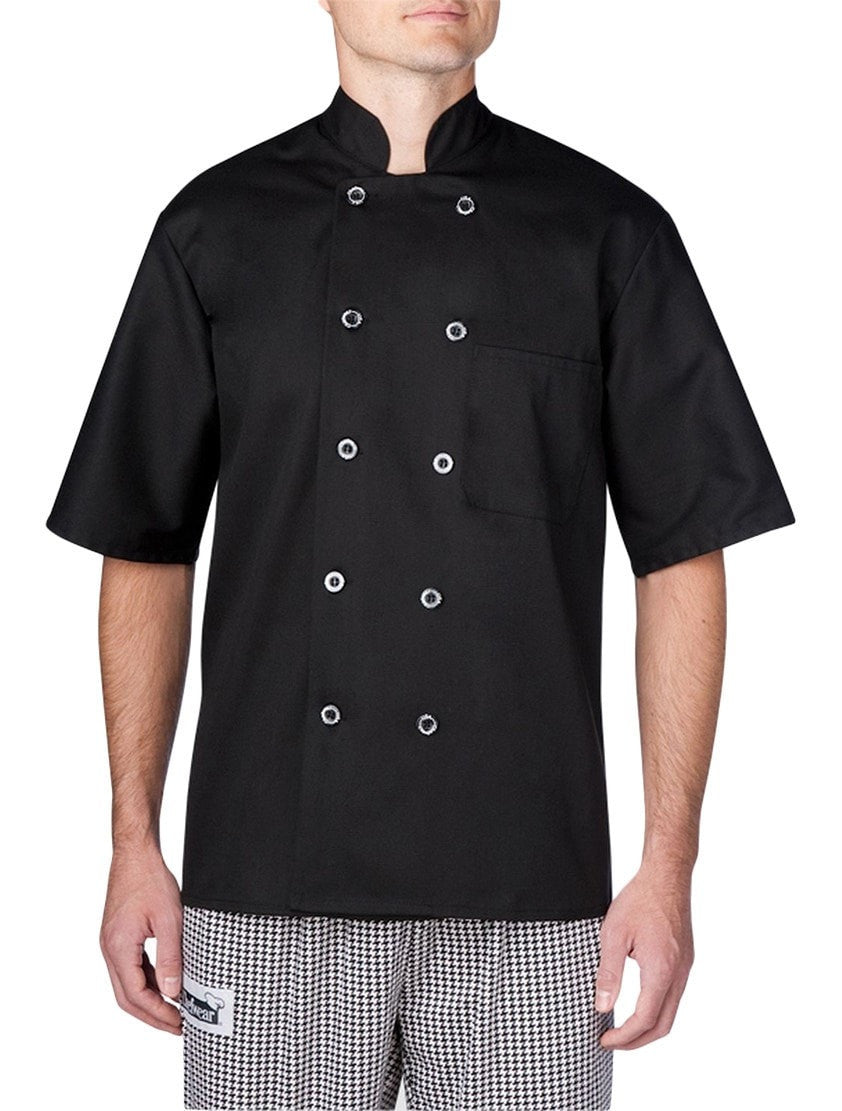 Chefwear Three Star Short Sleeve Lightweight Chef Jacket (4456) Black