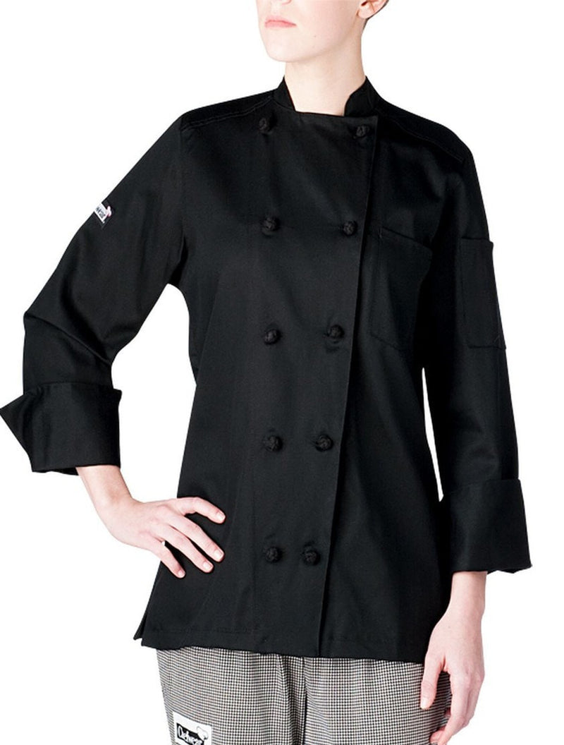 Chefwear Five Star Women's Lightweight Chef Coat Black